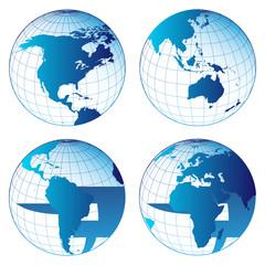 Set of world maps
