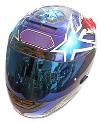 Papier Peint - casque intégral motard fond blanc
