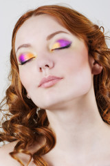 Model with bright make-up