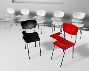 silla roja y negra