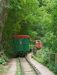 Locomotive with Coach on the Mountain Narrow-gauge