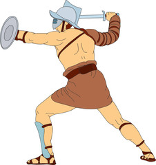 Fotorolgordijn Ridders vector - a Roman gladiator fighting