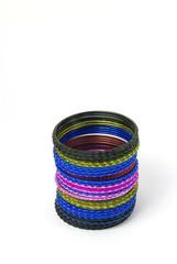 Coloured metallic bracelet rings