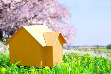 桜をバックにした家