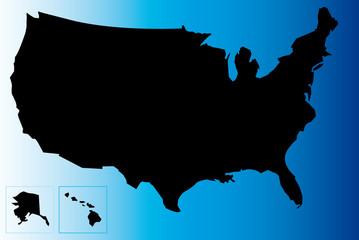 Map of USA with blue background