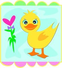 Framed Duck with Heart Flower