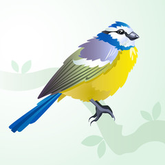 Poster Geometric animals Tit bird on a branch in spring