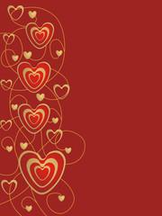 złote serca na czerwonym tle