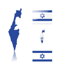 Israeli map and flags