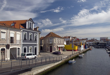 The panorama of Aveiro city and canal with boats