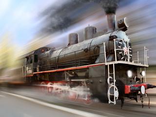 locomotive in motion blur