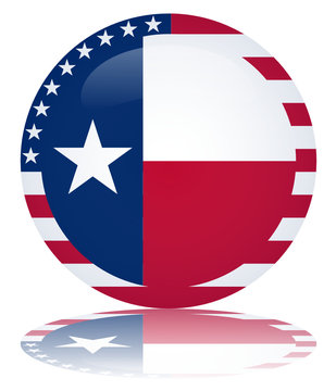 Texas Flag Round Web Button (Texan State USA Vector Reflection)