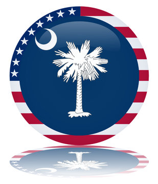 South Carolina State Round Flag Button (USA Vector Reflection)