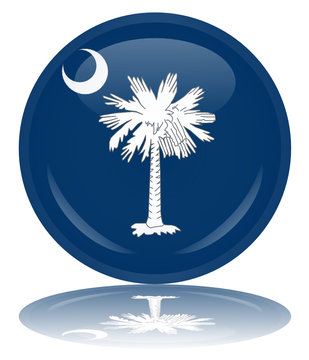 South Carolina State Round Flag Button (USA Vector Reflection)
