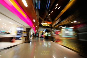 Picture of shopping mall background blurred motion.