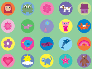 Collection of cute icons for children & babies