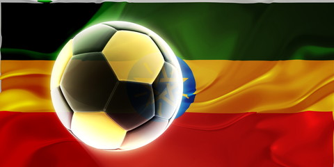 Flag of Ethiopia wavy soccer