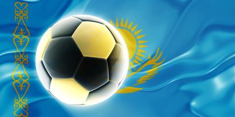 Flag of Kazakhstan wavy soccer