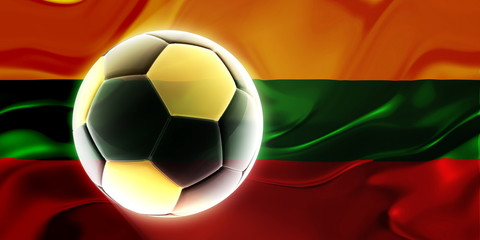Flag of Lithuania wavy soccer