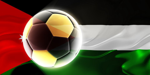 Flag of Jordan wavy soccer