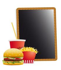 Ardoise et menu fast-food-frites,soda,hamburger