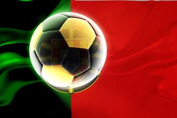 Flag of Portugal wavy soccer