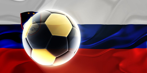 Flag of Slovenia wavy soccer