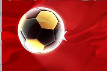 Flag of Turkey wavy soccer