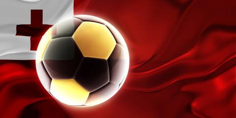 Flag of Tonga wavy soccer
