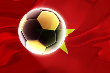 Flag of Vietnam wavy soccer