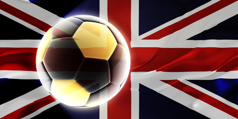 Flag of United Kingdom wavy soccer