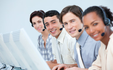 International business people in a call center