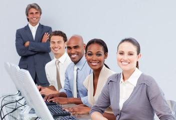 Happy customer service representatives in a call-center