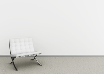 Beautiful interior with modern white chair on concrete floor