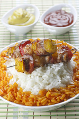 Skewers with rice
