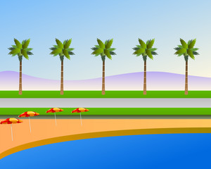 tropical beach landscape vector background