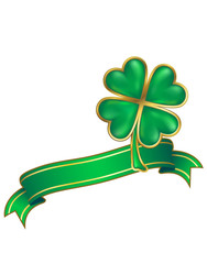 clover design; shiny four leaf clover and scroll
