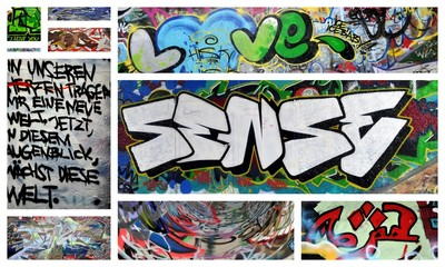 Printed kitchen splashbacks Graffiti collage love und sense