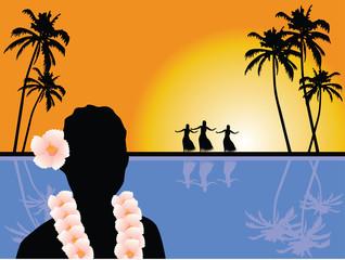 Hawaiian scenery vector