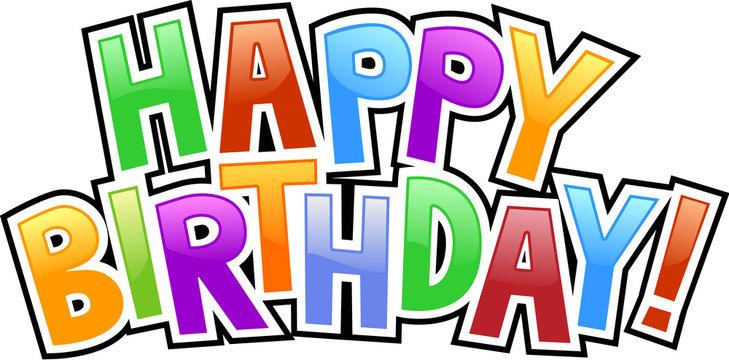 happy birthday graffiti text inscription