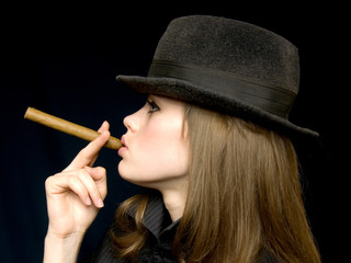 girl in black with a cigarette in a hand