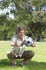 Man playing with a ball