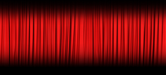 Red theater curtain isolated on black