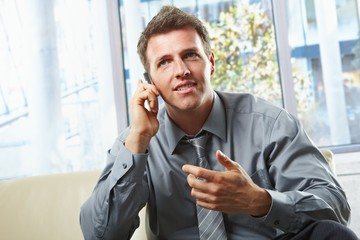 Smiling professional on phone with gesture