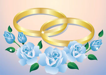 Wedding rings and roses.