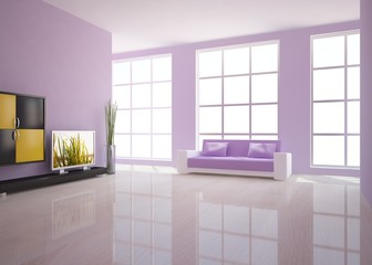 violet interior with tv