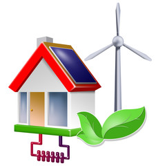 ökohaus icon mit blatt green energie