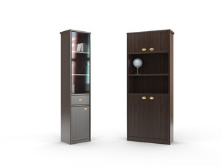 two isolated bookcase