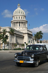Garden Poster Cars from Cuba Capitolio