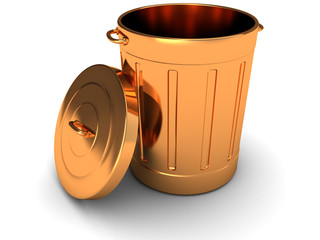 copper trashcan